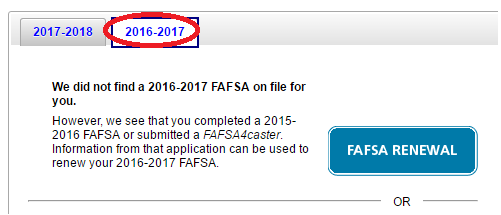 Pick the 2016-2017 FAFSA